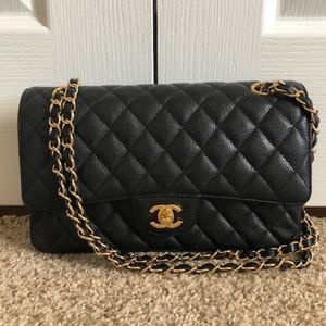 Chanel Double Flap (CF) Black Caviar Shoulder Bag